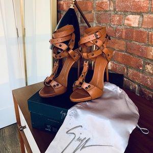 Giuseppe Zanotti Ankle-Wrap T-Strap Leather Sandal